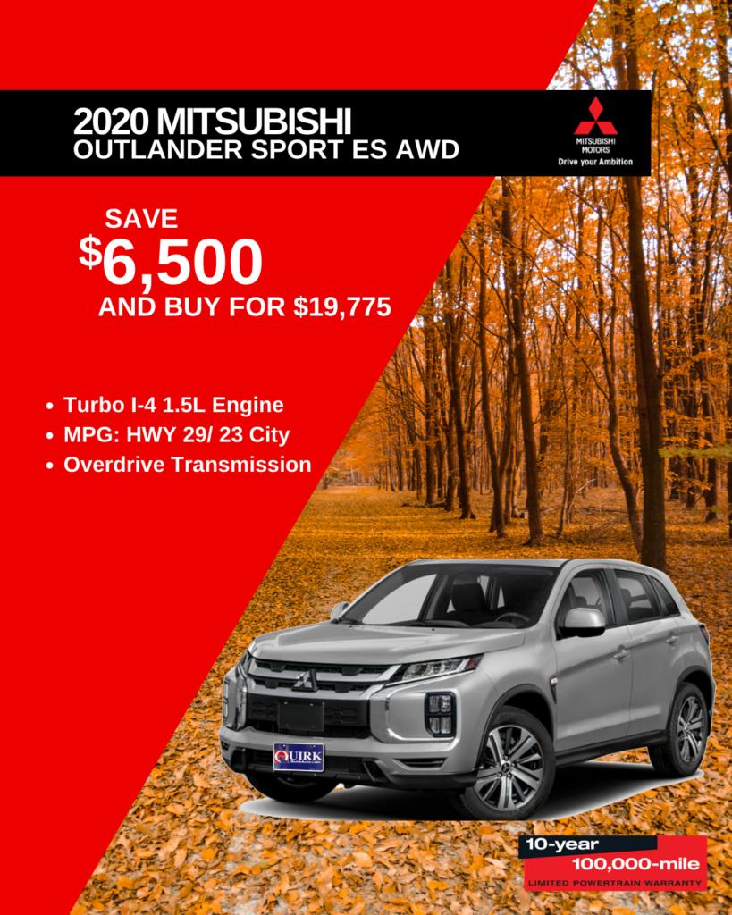 Save $6,500 and Buy 2020 Mitsubishi Outlander Sport Sport ES AWD CVT For $19,775