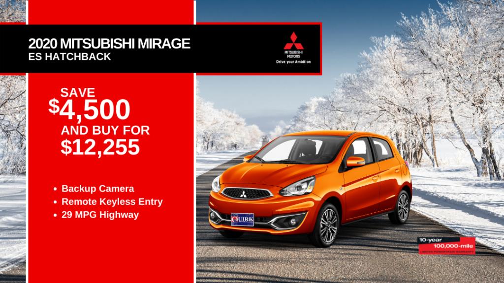 Save $4,500 and Buy 2020 Mitsubishi Mirage ES Hatchback For $12,255