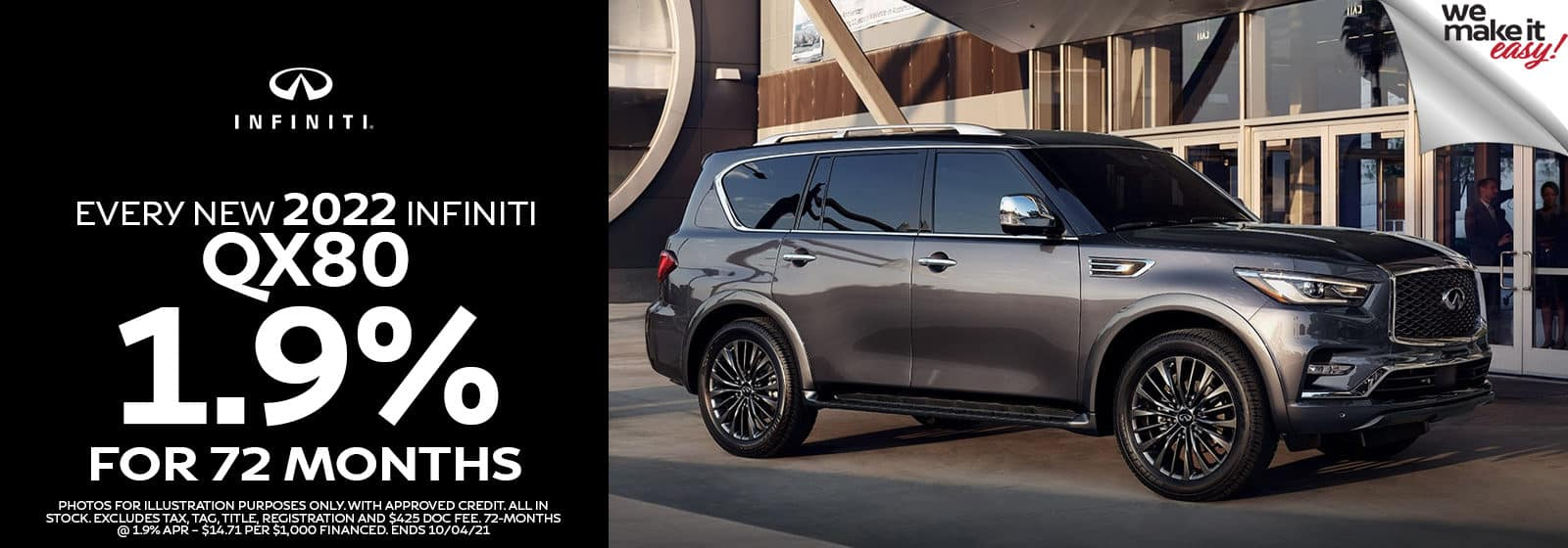 INFINITI QX80 1.9% for 72 Months