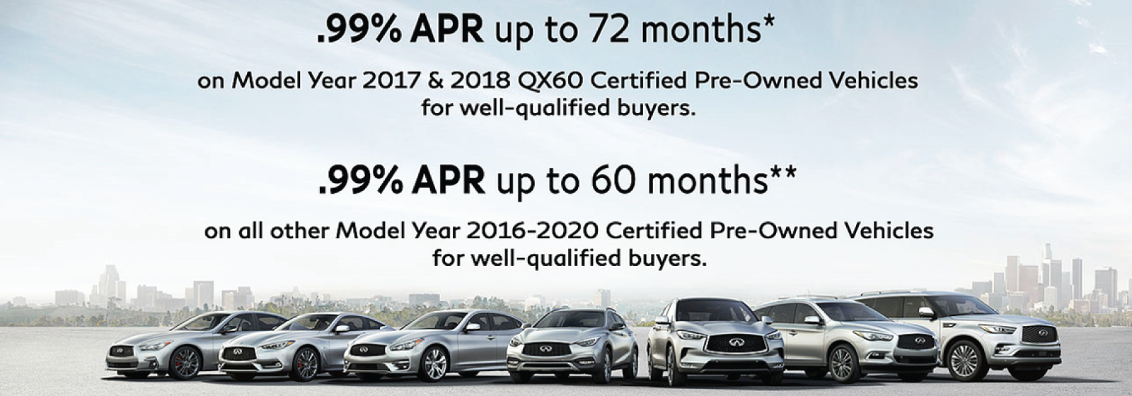 .99% APR up to 72 months* on Model Year 2017 & 2018 QX60 Certified Pre-Owned Vehicles for well-qualified buyers. .99% APR up to 60 months** on all other Model Year 2016-2020 Certified Pre-Owned Vehicles for well-qualified buyers.