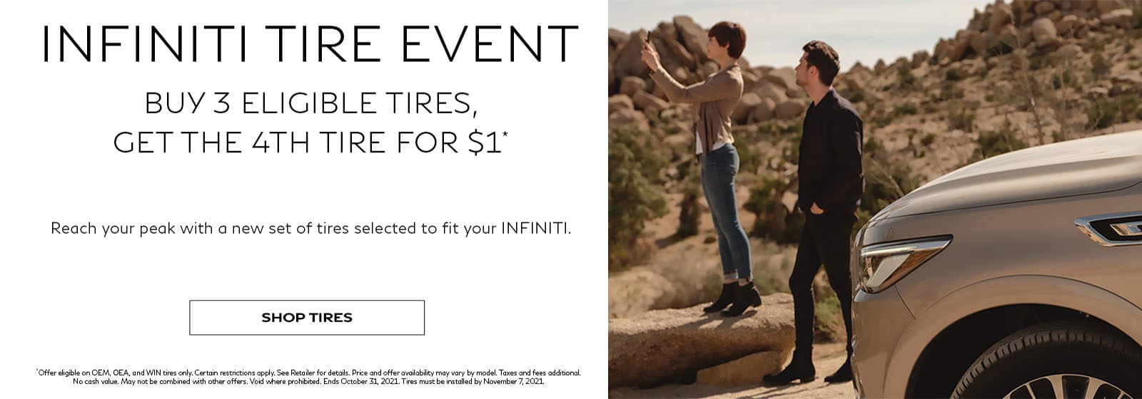 2021 August Tire Offer INFINITI Buy 3 Get 1 for $1