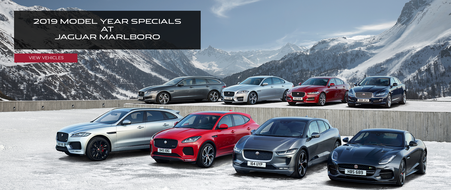 2019 Model Year Specials at Jaguar Marlboro. Click to view vehicles. Model line up on snowy lot with mountains in the background.