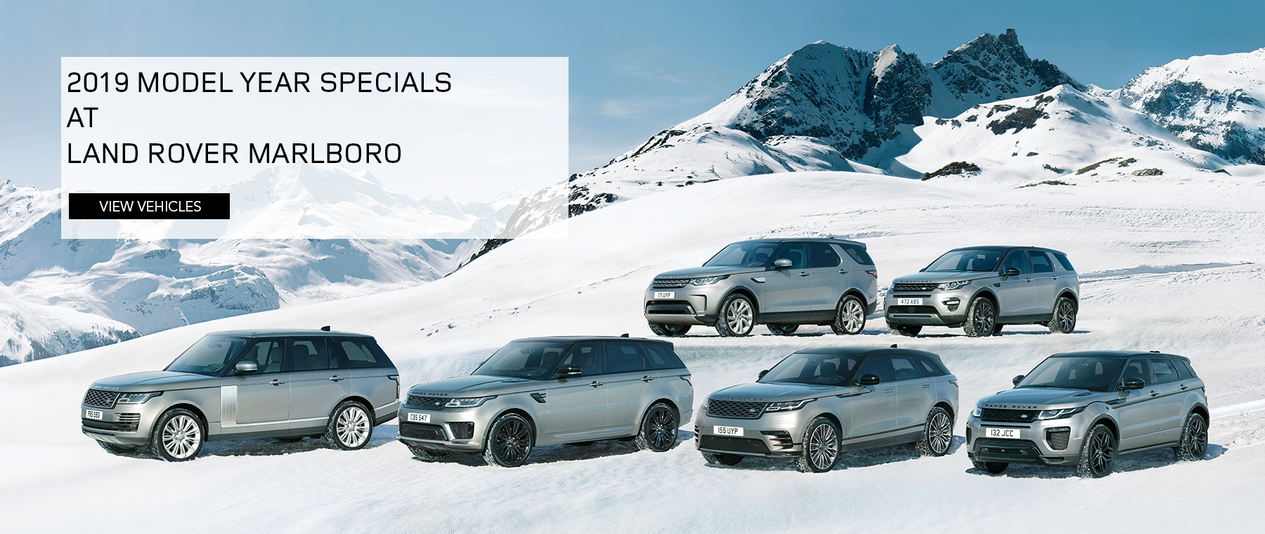 2019 Model Year Specials at Land Rover Marlboro. Click to view vehicles. Model line up on snowy mointain