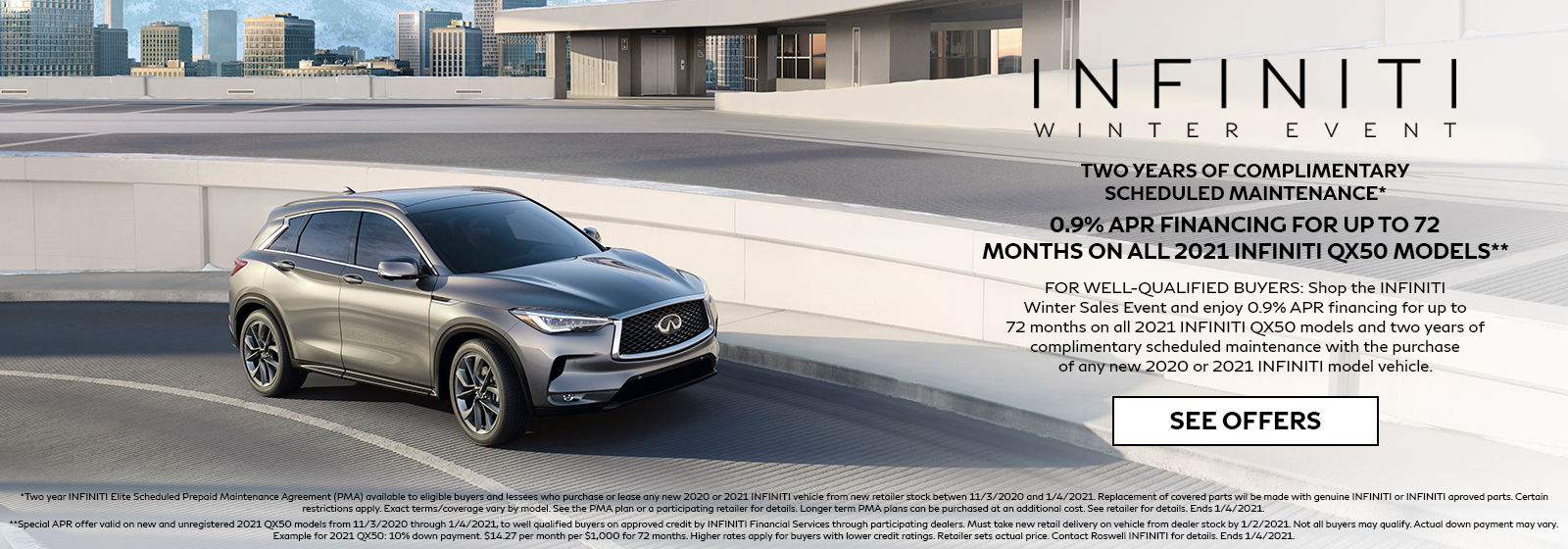 0.9% APR for 72 months on 2021 INFINITI QX50