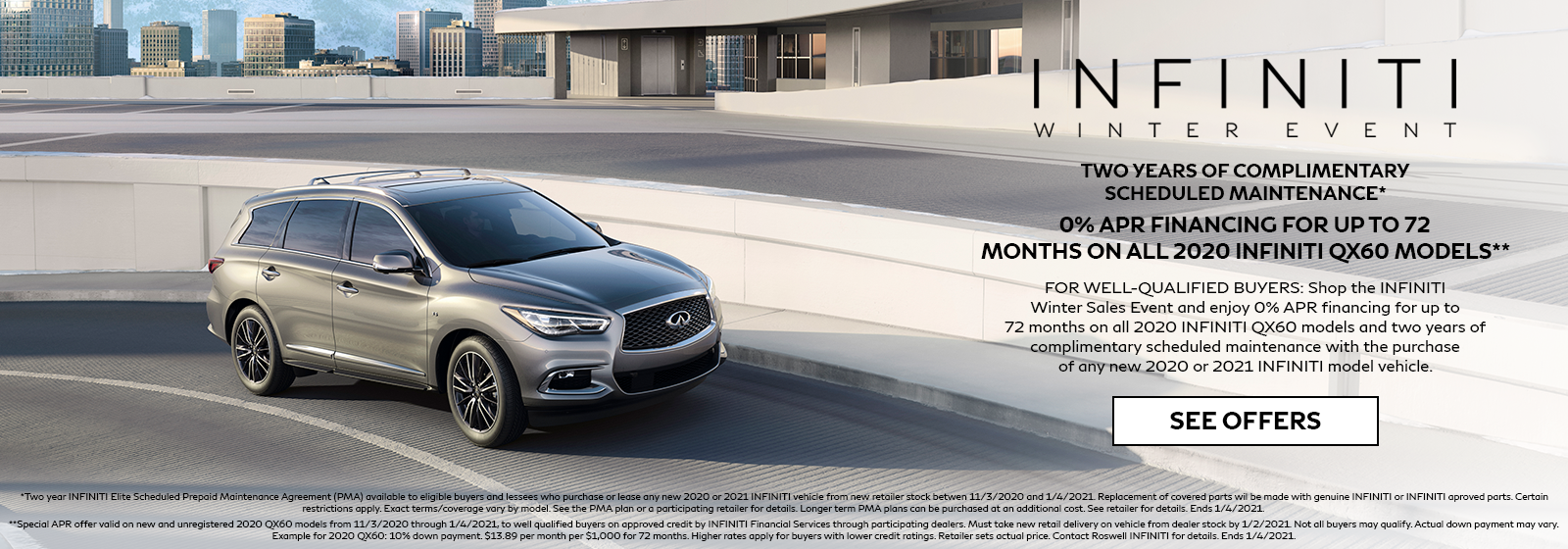 0% APR for 72 months on 2020 INFINITI QX60