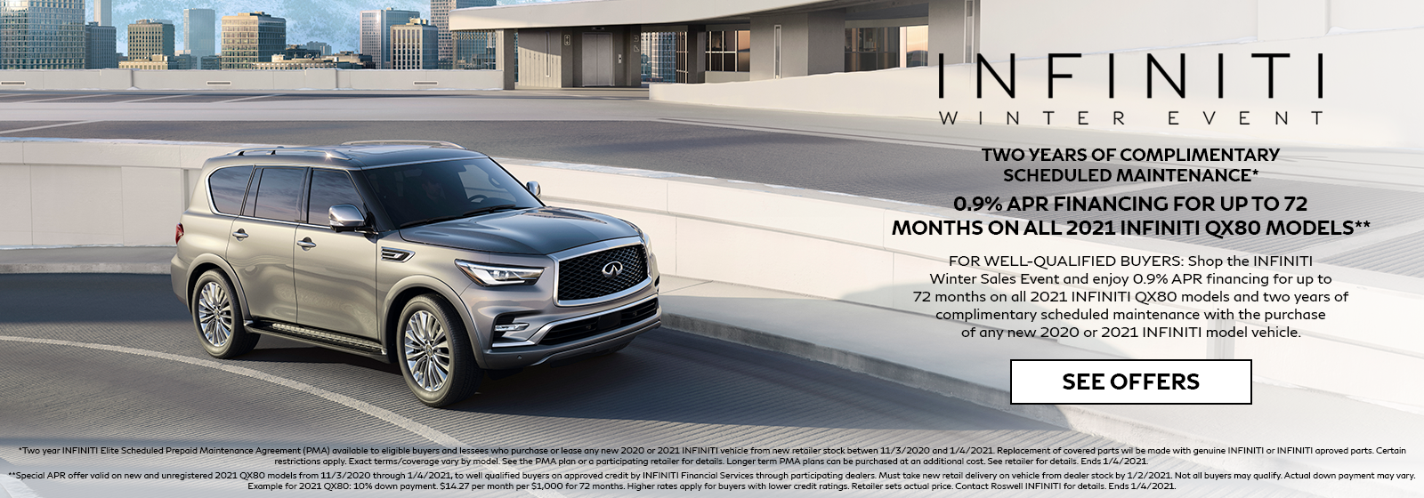 0.9% APR for 72 months on 2021 INFINITI QX80