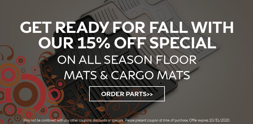 15% Off All Season Floormats & Cargo Mats