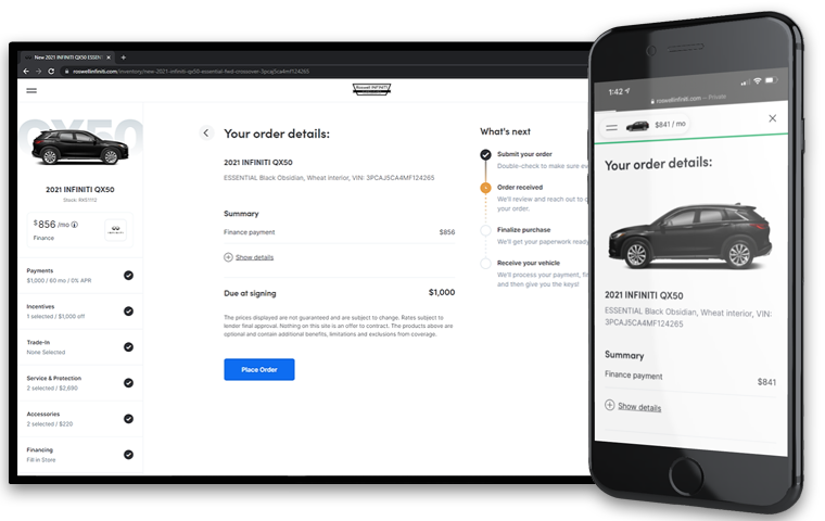 View Your Order Details For INFINITI Buy From Home