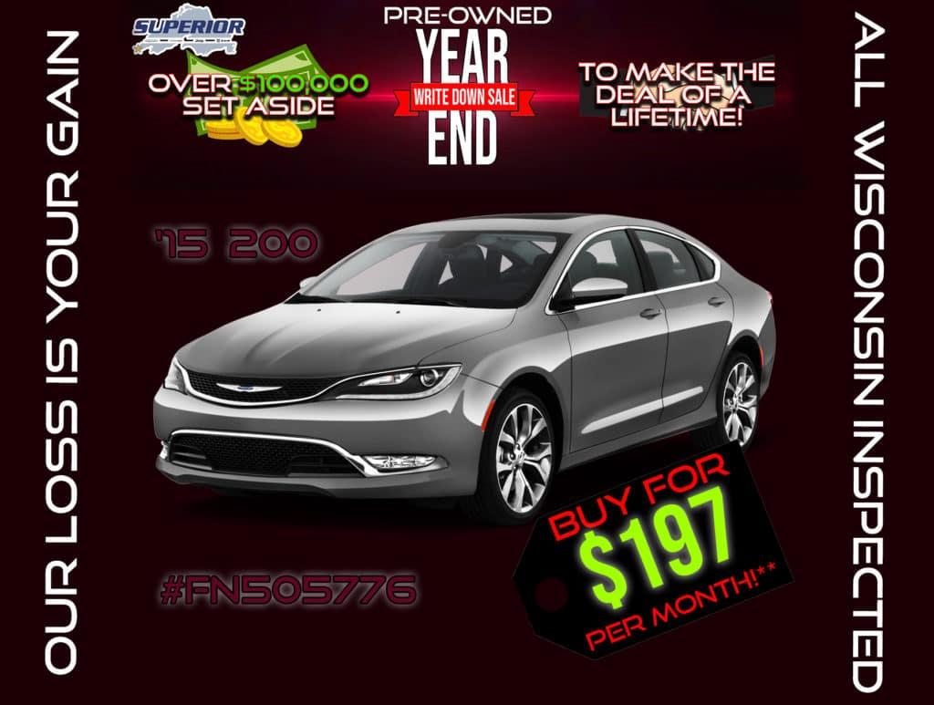 PRE-OWNED 2015 CHRYSLER 200 S #FN505776