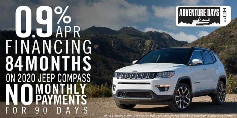 Adventure days, 0.9 apr financing for 84 months, on 2020 jeep compass, and no payments for 90 days
