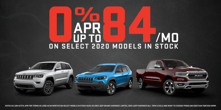 0% apr for up to 84 mon on select 2020 models in stock.
