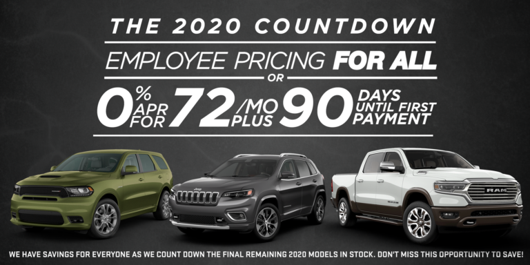 the 2020 countdown, employee pricing for all or 0% apr for 72 mo plus 90 days until first payment