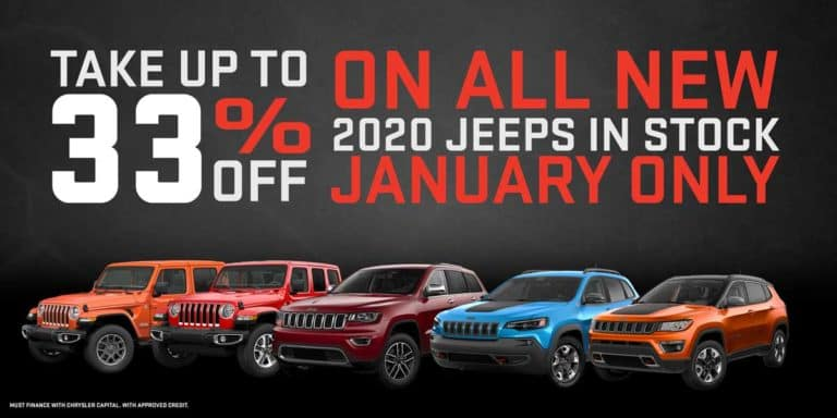 take up to 33% off on all new 2020 jeeps in stock january only