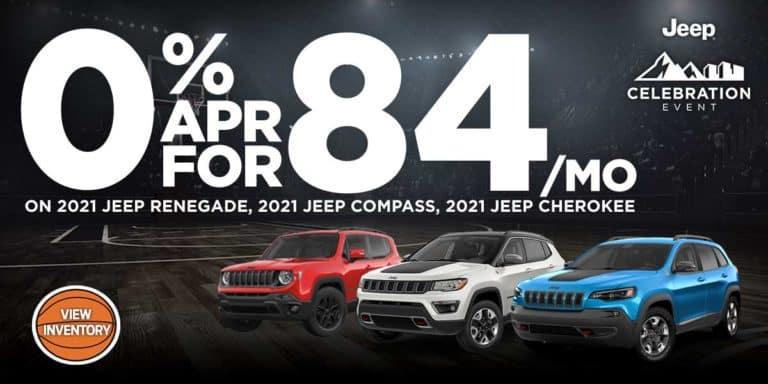 0% apr for 84 /mo on 2021 renegade, compass, cherokee.