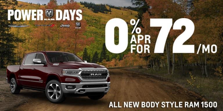 0% for 72 months offer on ram 1500 models
