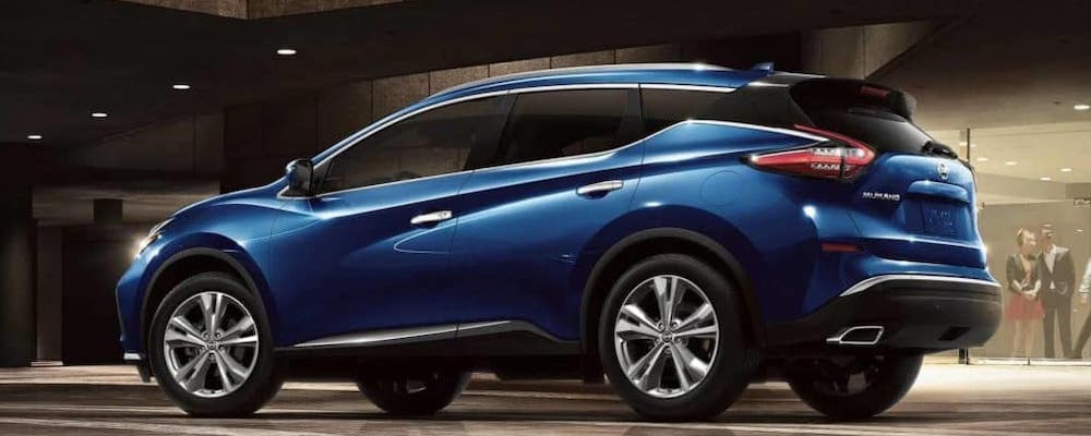 Blue 2019 Nissan Murano from the side