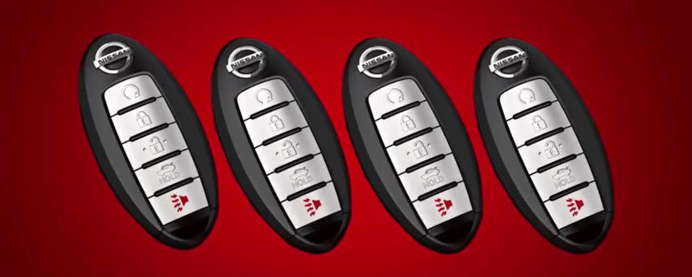Four Nissan Keys. How to program Nissan Intelligent key concept.
