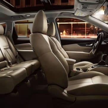 Cross-section of 2020 Nissan Rogue interior with tan leather seats