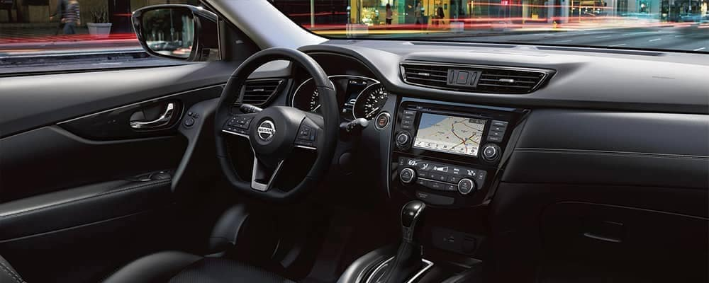 Steering wheel and front seats of 2020 Nissan Rogue interior