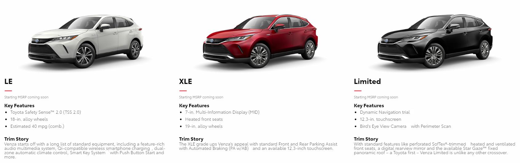 2021 Toyota Venza Trim Levels