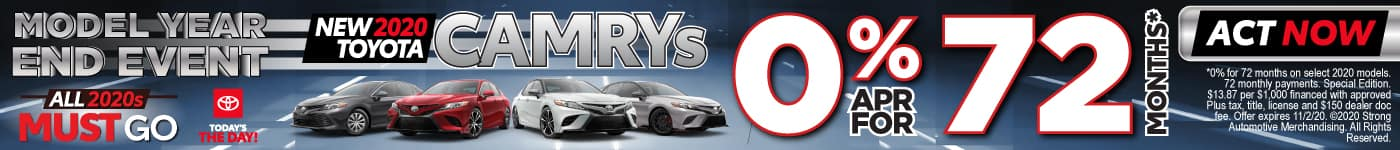 New 2020 Toyota Camrys 0% apr for 72 months | Act Now