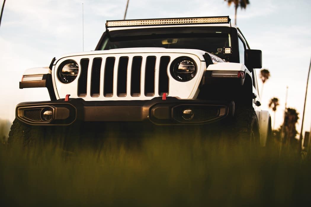 A jeep wrangler sitting in a field near Miami, Oklahoma