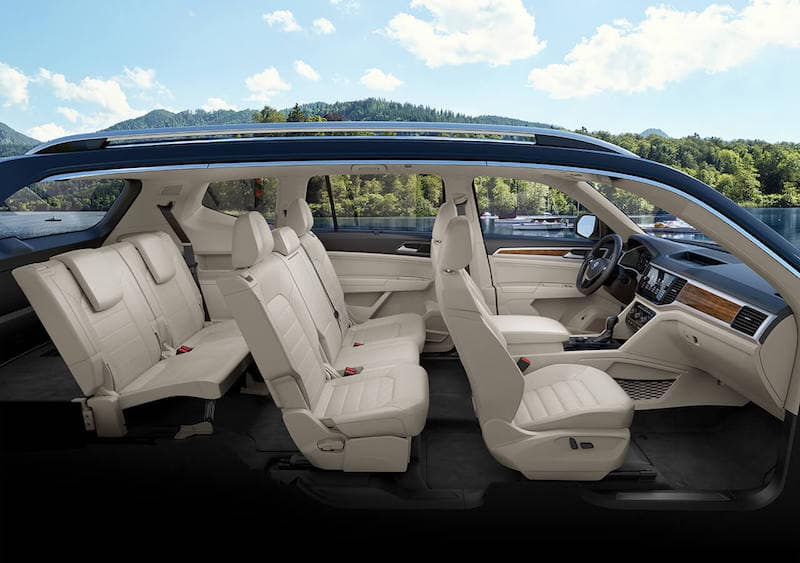 side view of Volkswagen Atlas interior seating capacity