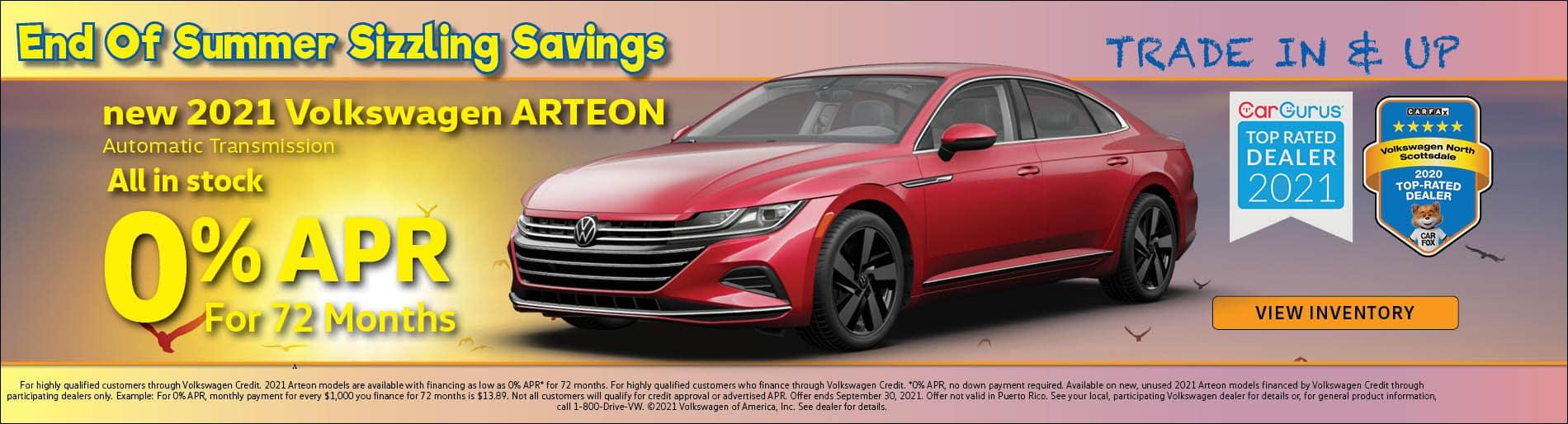 2021 VW Arteon - 0% APR for 72 months