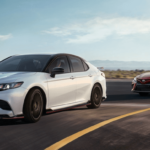 2020 Toyota Camry configurations parked on beach