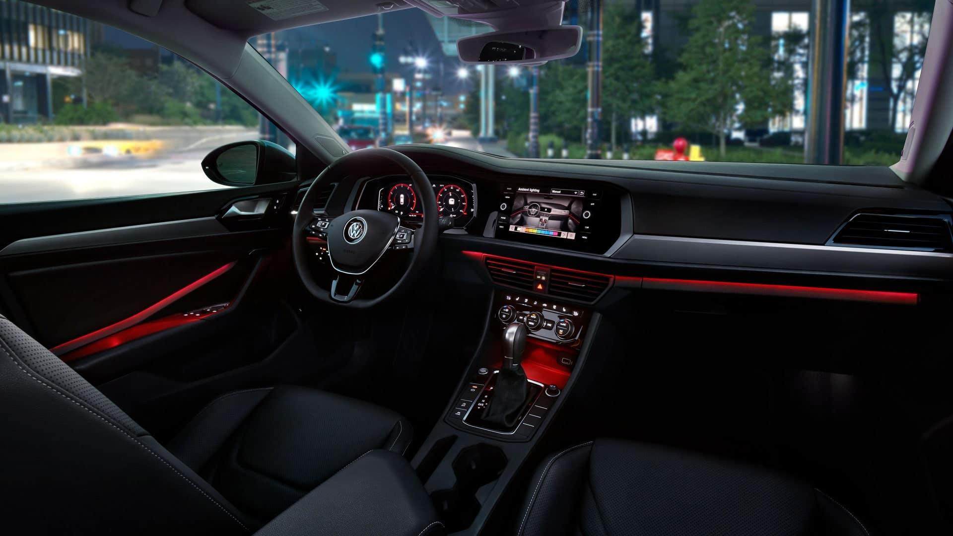 Ambient lighting inside the VW Jetta