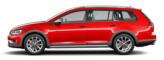 Red 2019 VW Golf Alltrack side profile