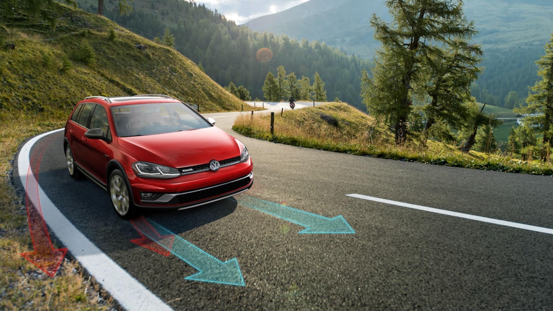 2019 VW Gofl Alltrack cornering with ease