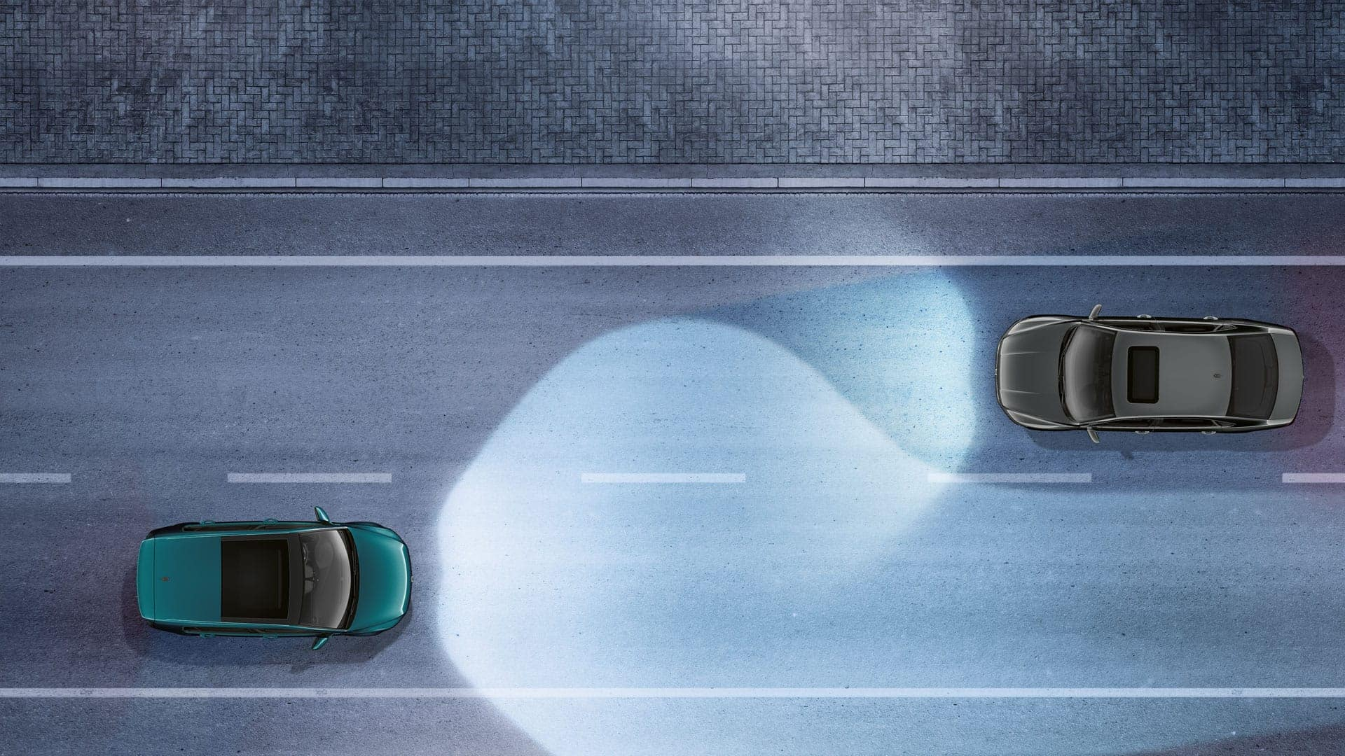 Infographic showing the 2019 VW Golf light assist feature.