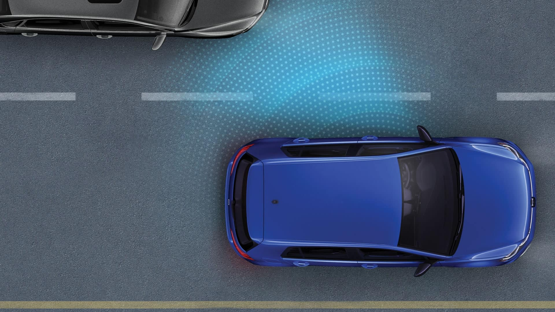 Infographic of the 2019 VW Golf R blind spot detection feature