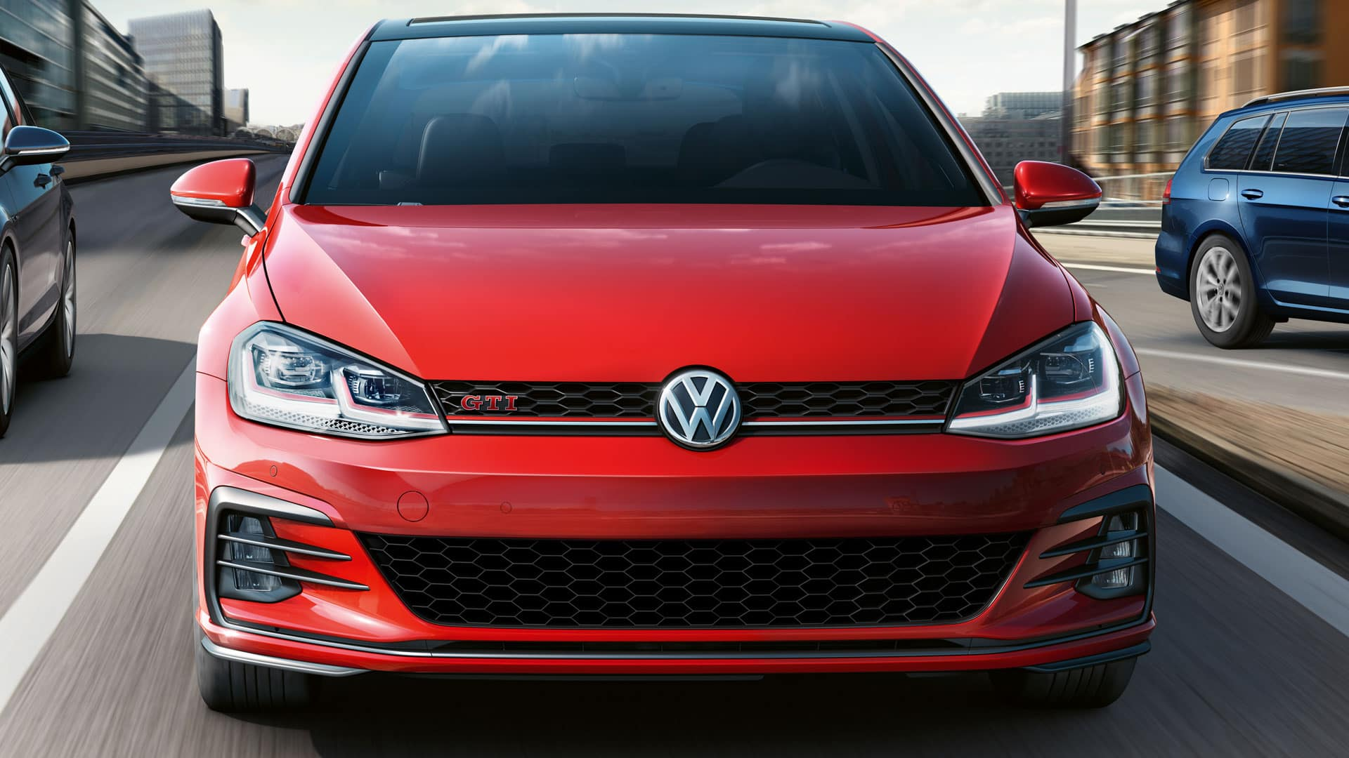 Red 2019 VW Golf GTI showing off it's exterior styling