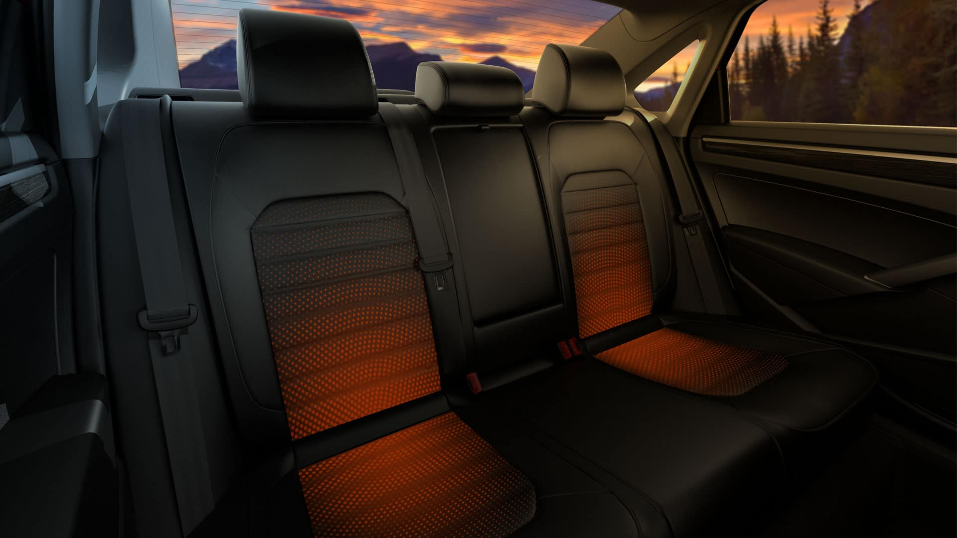 A graphic demonstrating the 2019 VW Passat's heated rear seats