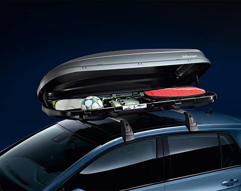 Volkswagen transport accessory filled with sporting equipment