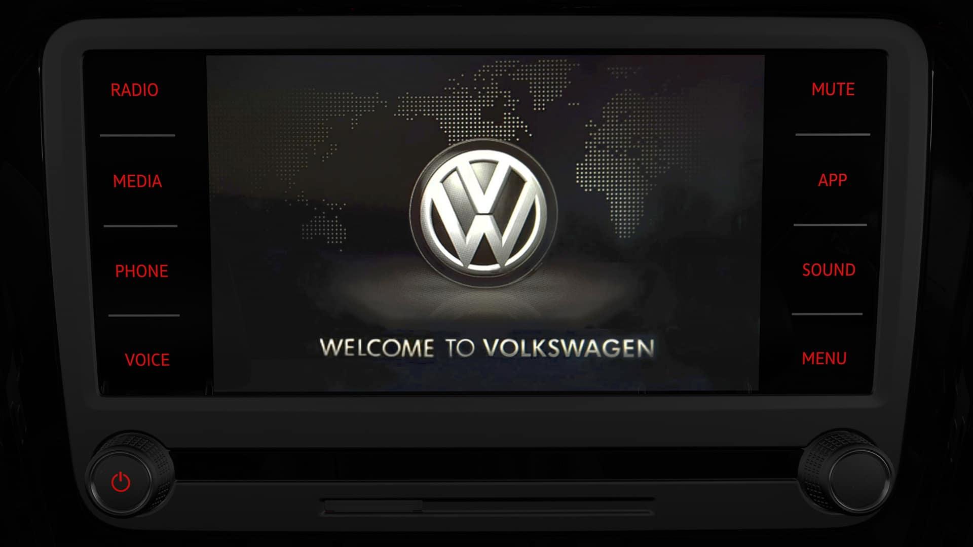 VW touchscreen welcome screen