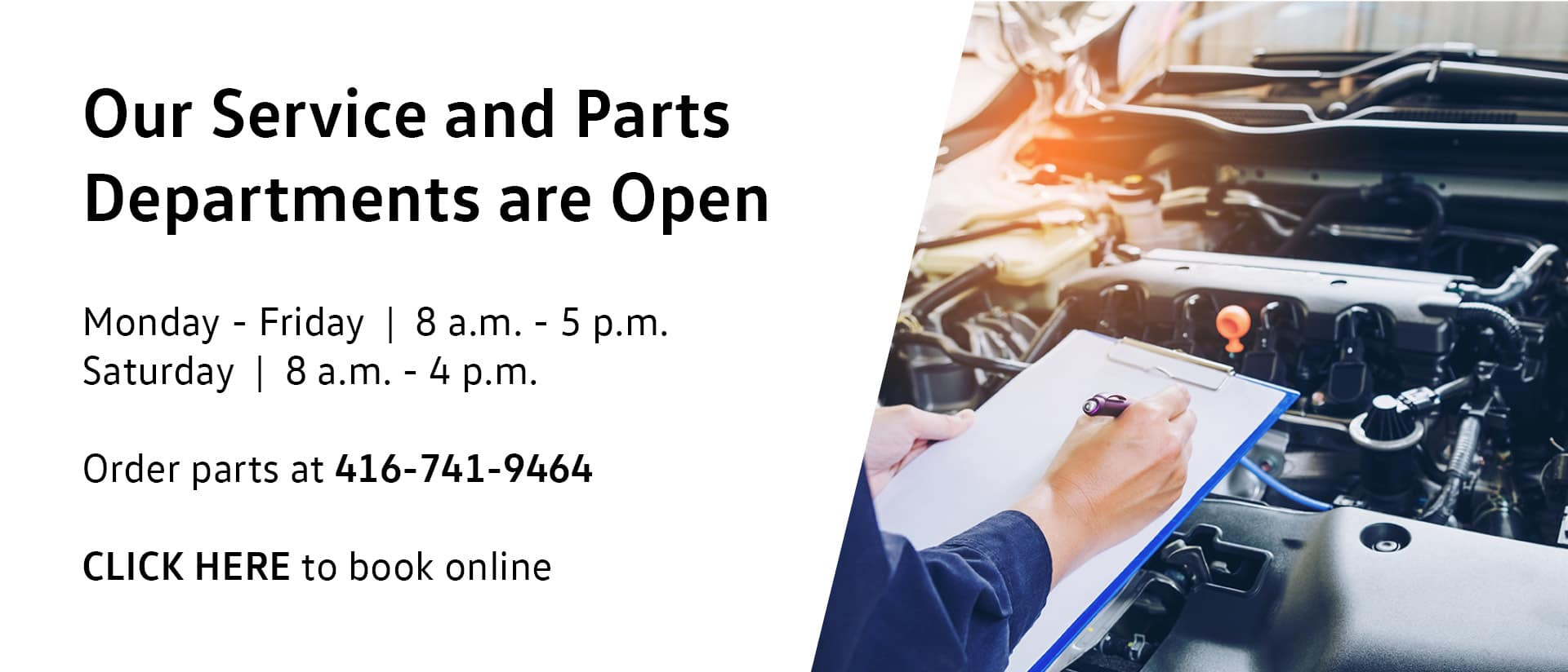 Parts and Service Open Banner